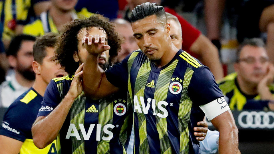 Nabil Dirar of Fenerbahce during the Audi Cup match between Bayern Munchen v Fenerbahce at the Allianz Arena on July 30, 2019 in Munich Germany (Photo by Rico Brouwer/Soccrates/Getty Images)