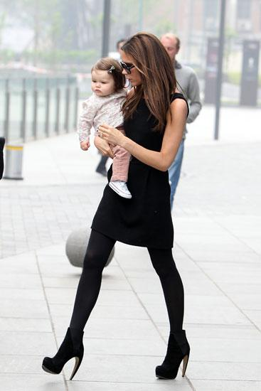 CUTE! Victoria Beckham And Harper Seven Wear Matching Outfits For Beijing Trip