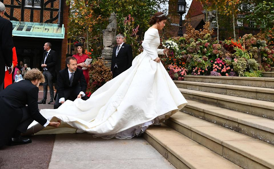 <p>Perhaps the most dramatic feature was its sweeping train. Photo: Getty </p>