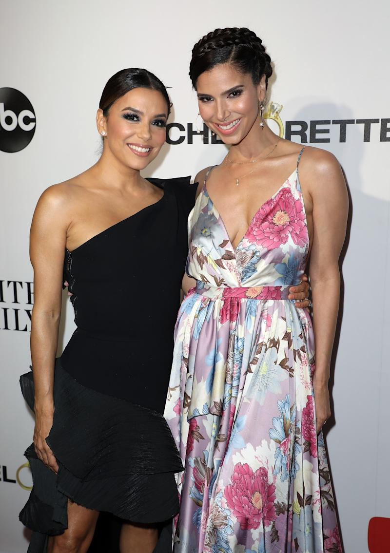 Longoria with Grand Hotel star Roselyn Sanchez at the show's premiere, which took place at the Fontainebleau.