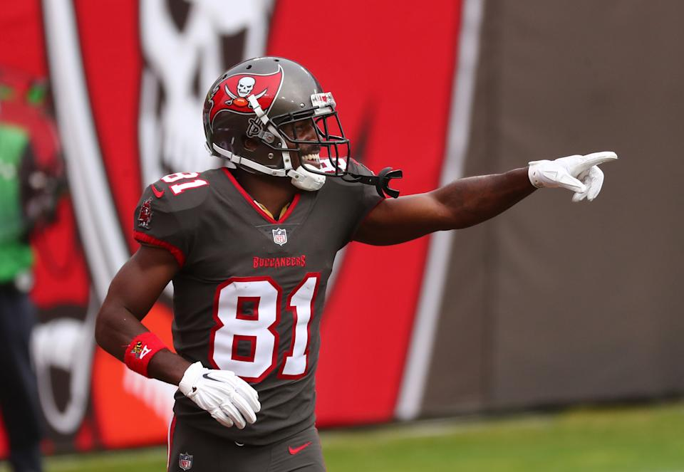 Tampa Bay Buccaneers wide receiver Antonio Brown averaged 7.75 targets per game in 2020. (Kim Klement/USA TODAY Sports)