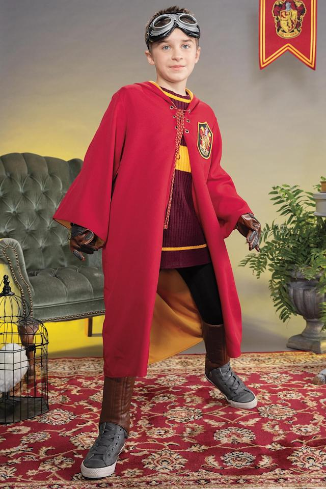 """<p>This extremely detailed (and accurate!) Chasing Fireflies <a href=""""https://www.popsugar.com/buy/Gryffindor-Quidditch-Costume-485234?p_name=Gryffindor%20Quidditch%20Costume&retailer=chasing-fireflies.com&pid=485234&price=109&evar1=moms%3Aus&evar9=46551638&evar98=https%3A%2F%2Fwww.popsugar.com%2Fphoto-gallery%2F46551638%2Fimage%2F46551649%2FGryffindor-Quidditch-Costume&list1=halloween%2Challoween%20costumes%2Challoween%20for%20kids%2Ckid%20halloween%20costumes&prop13=api&pdata=1"""" rel=""""nofollow"""" data-shoppable-link=""""1"""" target=""""_blank"""" class=""""ga-track"""" data-ga-category=""""Related"""" data-ga-label=""""https://www.chasing-fireflies.com/product/gryffindor-ouidditch-costume-for-kids.do"""" data-ga-action=""""In-Line Links"""">Gryffindor Quidditch Costume</a> ($109) is perfect for your <a href=""""https://www.popsugar.com/Harry-Potter"""" class=""""ga-track"""" data-ga-category=""""Related"""" data-ga-label=""""https://www.popsugar.com/Harry-Potter"""" data-ga-action=""""In-Line Links"""">Harry Potter fan</a>. The red cape has a Gryffindor insignia, and a cozy pullover features the team colors. Quidditch goggles and leg pads complete the look.</p>"""
