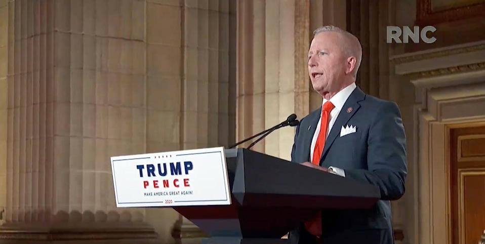 Rep. Jeff Van Drew of New Jersey speaks during the Republican National Convention at the Mellon Auditorium in Washington.