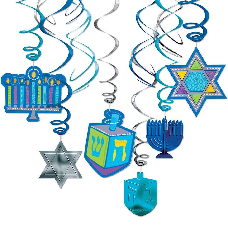 "<p><strong>See All Hanukkah Decorations</strong></p><p>partycity.com</p><p><strong>$5.99</strong></p><p><a href=""https://go.redirectingat.com?id=74968X1596630&url=https%3A%2F%2Fwww.partycity.com%2Fhanukkah-hanging-swirl-decorations-12ct-398190.html&sref=https%3A%2F%2Fwww.womansday.com%2Fhome%2Fdecorating%2Fg34087622%2Fhanukkah-decorations%2F"" rel=""nofollow noopener"" target=""_blank"" data-ylk=""slk:Shop Now"" class=""link rapid-noclick-resp"">Shop Now</a></p><p>These hanging swirl decorations are great for covering large interiors with some Hanukkah sparkle. The package contains 12 pieces in dreidel, menorah, and Star of David shapes that can be placed on ceilings and mantles throughout your home.</p>"