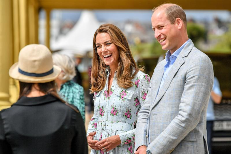 The Cambridges on the promenade as they visit beach huts to speak to local business owners about the impact of COVID-19 on the tourism sector on Aug. 5. (Photo: WPA Pool via Getty Images)