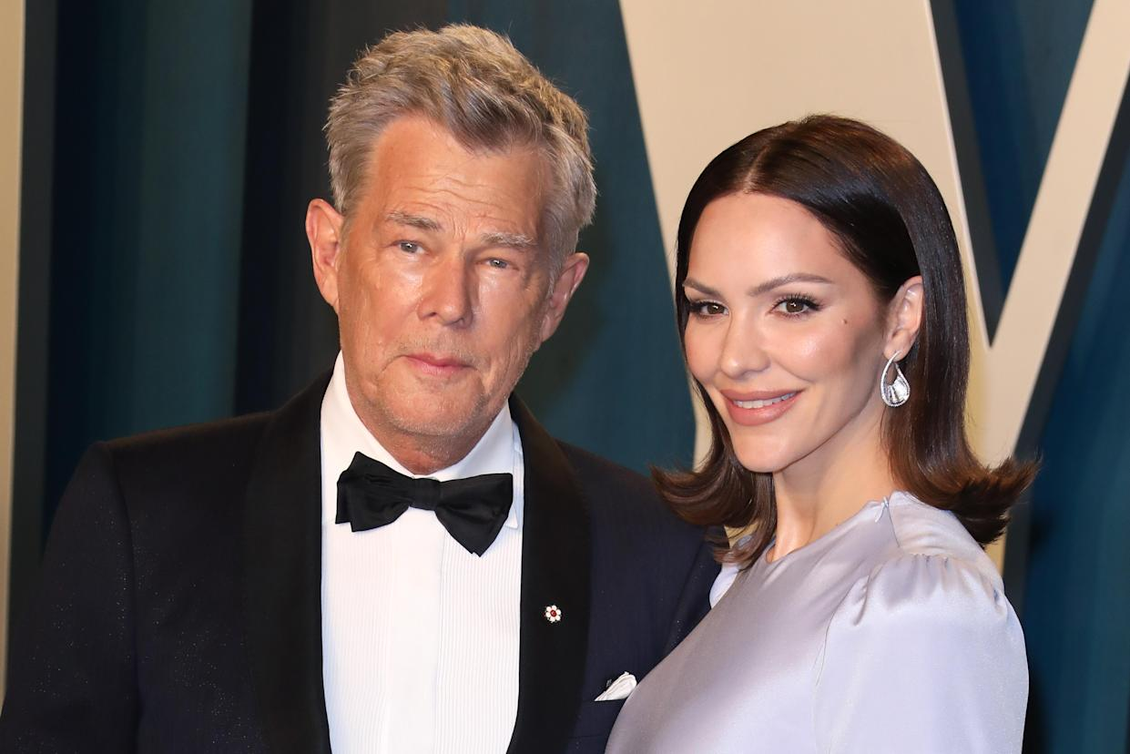 BEVERLY HILLS, CALIFORNIA - FEBRUARY 09:  Katharine McPhee and David Foster attend the 2020 Vanity Fair Oscar Party at Wallis Annenberg Center for the Performing Arts on February 09, 2020 in Beverly Hills, California. (Photo by Toni Anne Barson/WireImage)