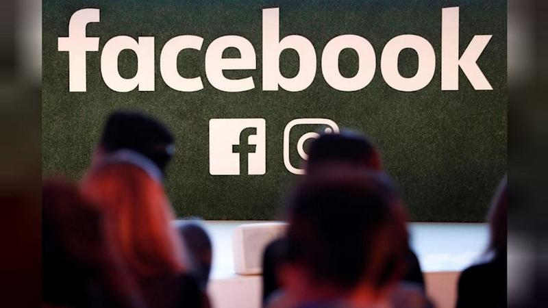 A Facebook logo is seen at the Facebook Gather conference in Brussels, Belgium. Image: Reuters