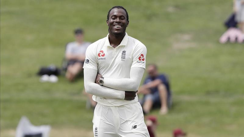 Jofra Archer laughs after Joe Denly dropped a sitter off his bowling to dismiss Kane Williamson