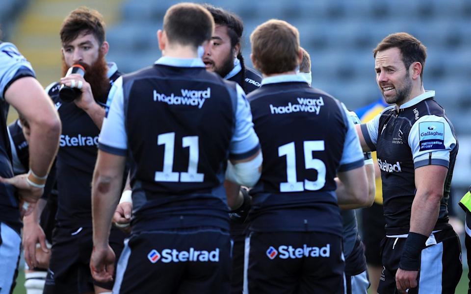 Michael Young (R) of Newcastle Falcons during a pre-season friendly against Ealing - GETTY IMAGES