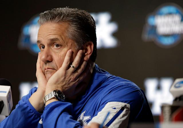 Kentucky head coach John Calipari listens to a question during a news conference at the NCAA tournament college basketball tournament Saturday, March 30, 2019, in Kansas City, Mo. Kentucky is set to play Auburn in the Midwest regional final on Sunday. (AP Photo/Jeff Roberson)