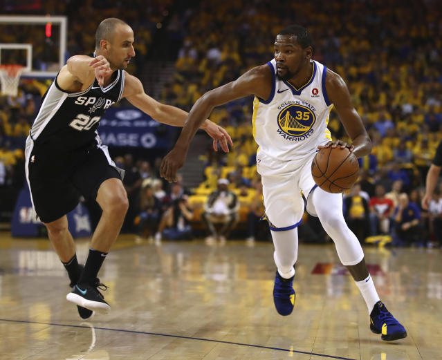 The Warriors, playing without leading man Steph Curry, found their playoff gear and dominated a hapless Spurs team on Saturday still struggling without Kawhi Leonard. (AP)