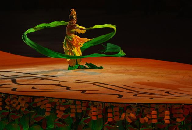 BEIJING - AUGUST 08:  A dancer performs during the Opening Ceremony for the 2008 Beijing Summer Olympics at the National Stadium on August 8, 2008 in Beijing, China.  (Photo by Vladimir Rys/Bongarts/Getty Images)