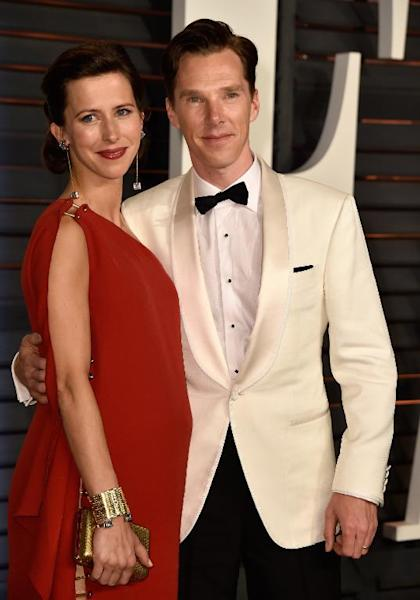 Benedict Cumberbatch with his wife Sophie Hunter at the 2015 Vanity Fair Oscar Party on February 22, 2015 in Beverly Hills, California (AFP Photo/Pascal Le Segretain)