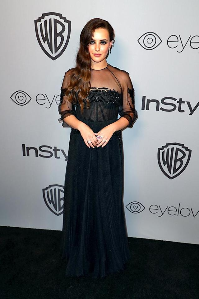 <p>Katherine Langford attends the InStyle and Warner Bros. party. (Photo: Joe Scarnici/Getty Images for InStyle) </p>