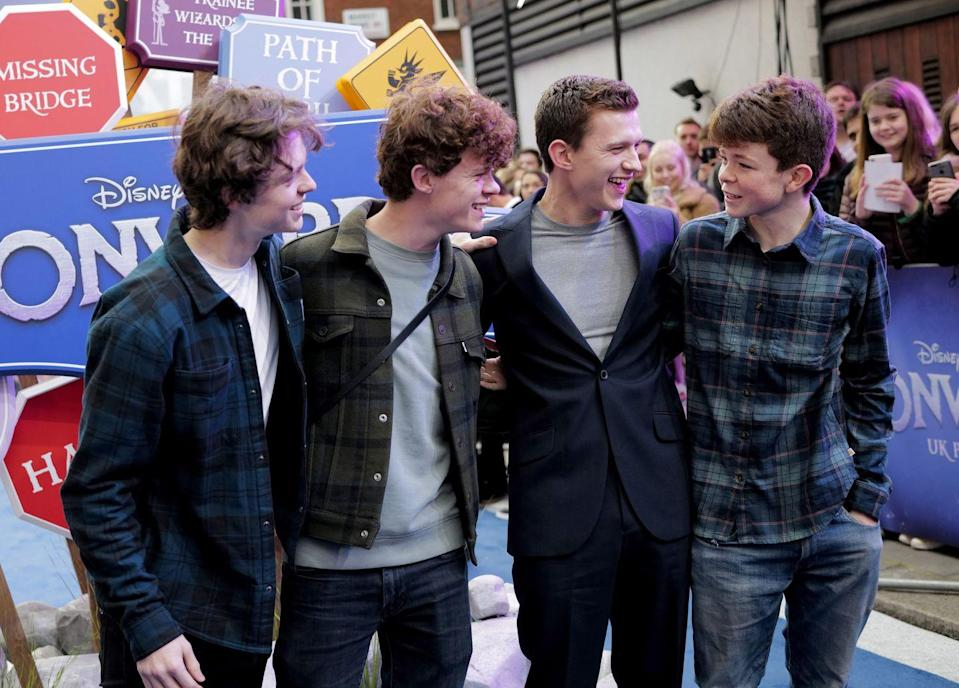 <p>Sam Holland, Harry Holland, Tom Holland and Paddy Holland attend the UK Premiere of <em>Onward</em> at The Curzon Mayfair on February 23, 2020 in London, England.</p>