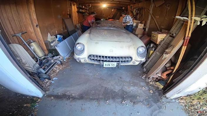 Barn find 1955 Chevy Corvette hasn't seen daylight in 40 years