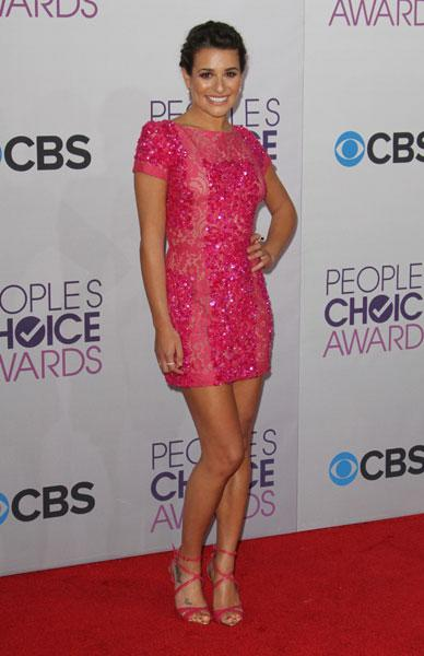 <b>Best dressed: Lea Michele </b><br><br>The Glee star brightened up the red carpet in a pink embellished Elie Saab SS13 mini dress with strappy heels.<br><br>Image © Rex