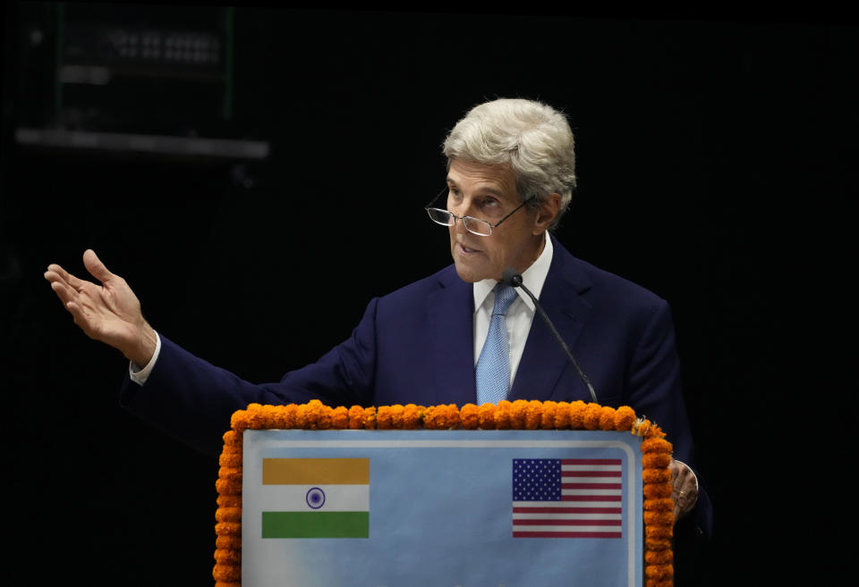 U.S. Special Presidential Envoy for Climate John Kerry speaks at the launch of Climate Action and Finance Mobilisation Dialogue (CAFMD) under India-US Agenda 2030 Partnership in New Delhi, India, Monday, Sept.13, 2021. India and the United States Monday launched the partnership to fight climate change and speed up India's transition to clean energy. (AP Photo/Manish Swarup)