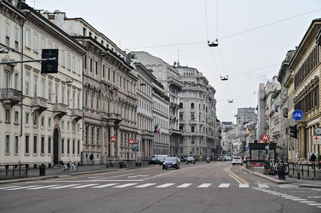 A view shows the deserted Corso Venezia main street on March 10, 2020 in downtown Milan. (Credit: Miguel Medina/AFP)