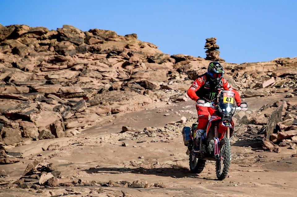 """#50 Hero Motorsports Team Rally: C. S. Santosh, #54 Team Baines Rally KTM: Camille Chapeliere<span class=""""copyright"""">A.S.O. </span>"""
