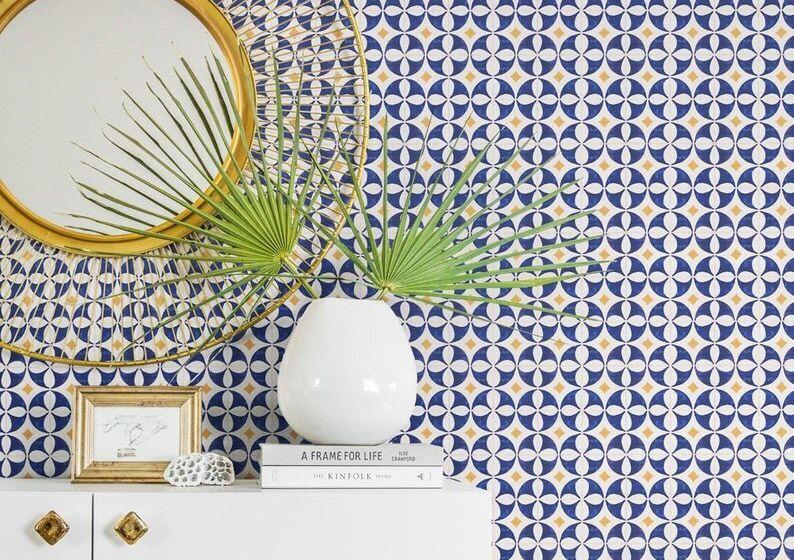 Peel-and-stick wallpaper is easy to remove.  (Photo: Etsy)