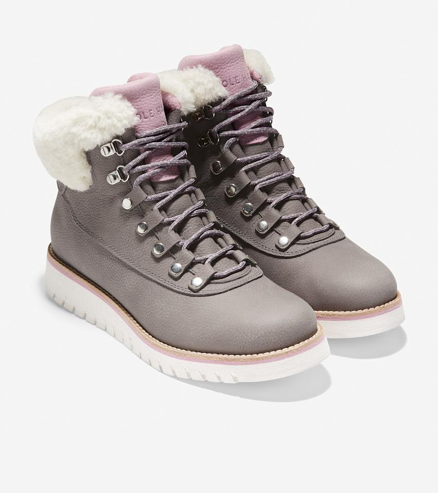 """<p>Available in six colors ranging from classic black to winter-ready white, these hiking boots are meant for so much more than mountain hikes. The ultra-cushioned footbed ensures the boots stay comfortable throughout the day, while the weatherproof exterior is ideal for rain, sleet, or snow.</p> <p><strong>To buy:</strong> $200; <a href=""""https://www.pntrac.com/t/8-11046-131940-142577?sid=RS%2C7CozyWinterBootsThatDon%25E2%2580%2599tSacrificeonStyle%2Csteelmae%2CSHO%2CIMA%2C577982%2C202001%2CI&url=https%3A%2F%2Fwww.colehaan.com%2Fzerogrand-explore-hiker-boot-titanium-pink%2FW19234.html"""" target=""""_blank"""">colehaan.com</a>.</p>"""