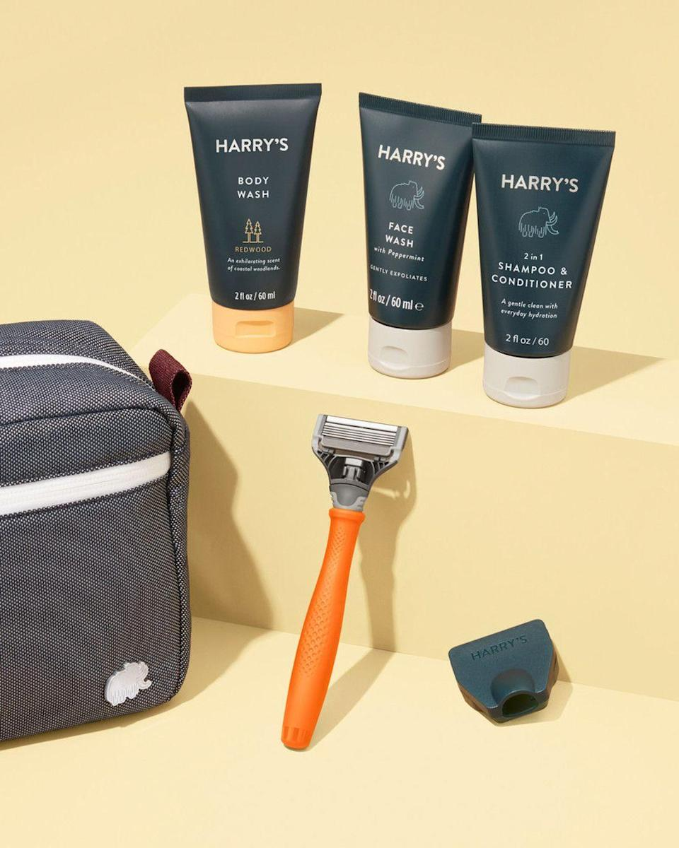 """<p><strong>Harry's</strong></p><p>harrys.com</p><p><strong>$35.00</strong></p><p><a href=""""https://go.redirectingat.com?id=74968X1596630&url=https%3A%2F%2Fwww.harrys.com%2Fen%2Fus%2Fproducts%2Fshave-and-shower-travel-kit&sref=https%3A%2F%2Fwww.seventeen.com%2Flife%2Fg23515577%2Fcool-gifts-for-teen-boys%2F"""" rel=""""nofollow noopener"""" target=""""_blank"""" data-ylk=""""slk:Shop Now"""" class=""""link rapid-noclick-resp"""">Shop Now</a></p><p>Your little brother will <em>really</em> appreciate this skin-soothing shaving cream when it comes time for his first shave. </p>"""