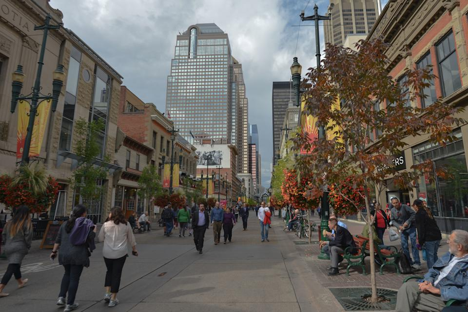 A general view of Stephen Avenue in Calgary downtown. After the city of Graz in Austria, a main contender for hosting the 2026 Winter Olympics, dropped out of the race, only Stockholm in Sweden, Sapporo in Japan, an Italian city to be named, and the Turkish city of Erzurum, remain in the race with a new front-runner, Calgary, to host the 2026 Olympics. Calgarians could go to the polls Nov. 13 to vote on a potential bid for the 2026 Olympics. On Monday, September 10th, 2018, in Calgary, Alberta, Canada. (Photo by Artur Widak/NurPhoto via Getty Images)