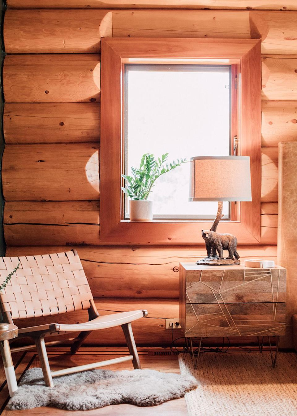 Delightfully campy details, such as the matching set of bear lamps, make the space kitschy in the best possible way.