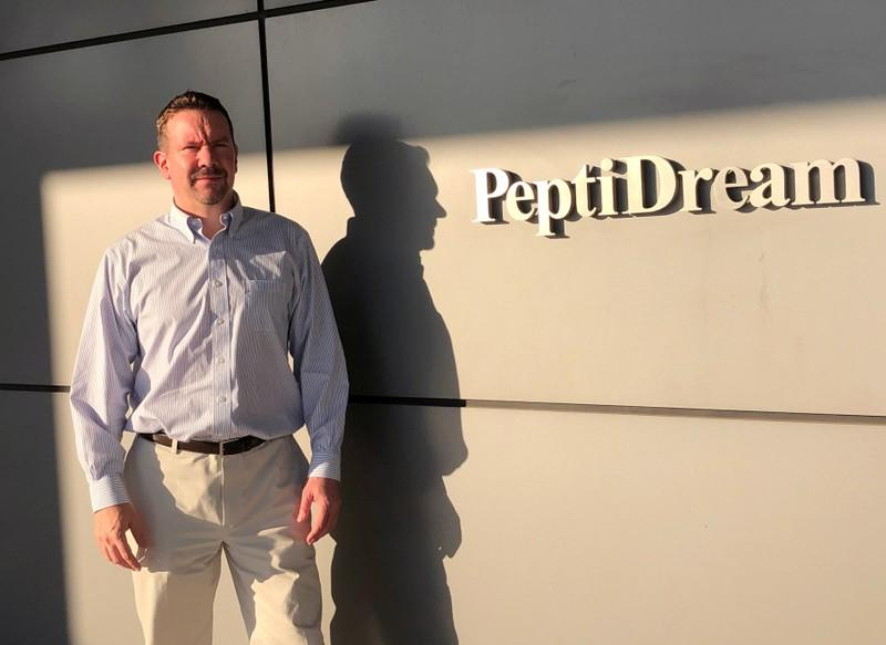 Patrick Reid, President and CEO of PeptiDream Inc, poses for a photograph at the company headquarters in Kawasaki, Japan