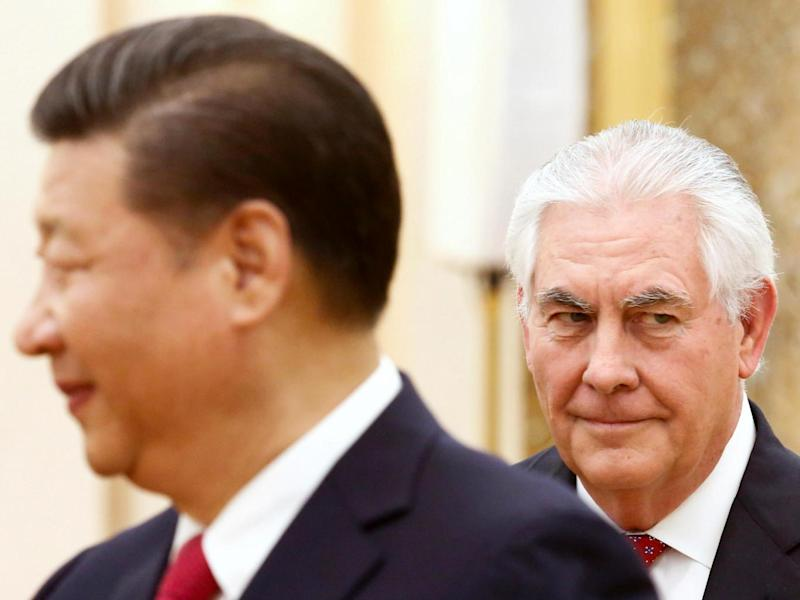 China's President Xi Jinping meets US State of Secretary Rex Tillerson at the Great Hall of the People in Beijing on March 19 2017 (Thomas Peter/Reuters)