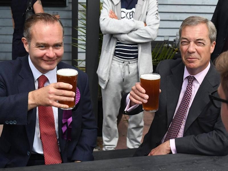 Paul Oakley with Nigel Farage during the 2017 general election (Victoria Jones/PA Archive/PA)