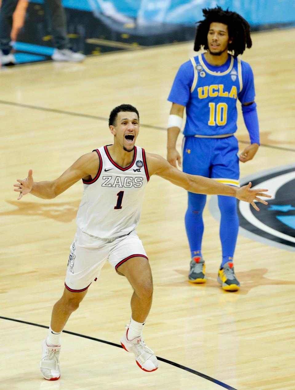 Gonzaga's Jalen Suggs celebrates after his buzzer-beater three beat UCLA in overtime.
