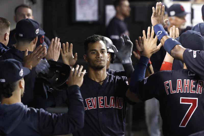 Cleveland Indians' Oscar Mercado celebrates his three-run home run off Chicago White Sox relief pitcher Hector Santiago during the fifth inning of a baseball game Tuesday, Sept. 24, 2019, in Chicago. (AP Photo/Charles Rex Arbogast)