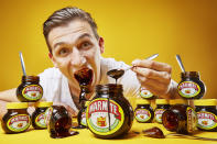 <p>Along with mustard and mashed potato (the list is growing) Andre Ortolf also enjoys Marmite… a lot. His world record for eating the most in one minute currently stands at 252g. (PA) </p>