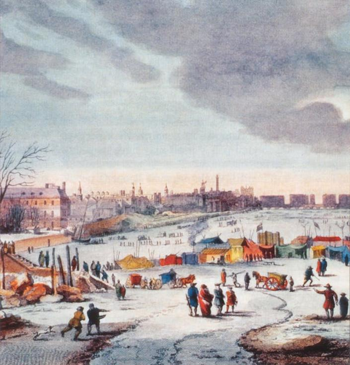 "<span class=""caption"">During the winter of 1683–84, the Thames froze over. Regular weather records from London would begin a decade later.</span> <span class=""attribution""><a class=""link rapid-noclick-resp"" href=""https://en.wikipedia.org/wiki/River_Thames_frost_fairs#/media/File:Thomas_Wyke-_Thames_frost_fair.JPG"" rel=""nofollow noopener"" target=""_blank"" data-ylk=""slk:Thomas Wyke/Wikipedia"">Thomas Wyke/Wikipedia</a></span>"