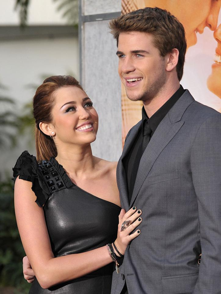 """<a href=""""http://movies.yahoo.com/movie/contributor/1809849015"""">Miley Cyrus</a> and <a href=""""http://movies.yahoo.com/movie/contributor/1810126236"""">Liam Hemsworth</a> at the Los Angeles premiere of <a href=""""http://movies.yahoo.com/movie/1810098775/info"""">The Last Song</a> - 03/25/2010"""