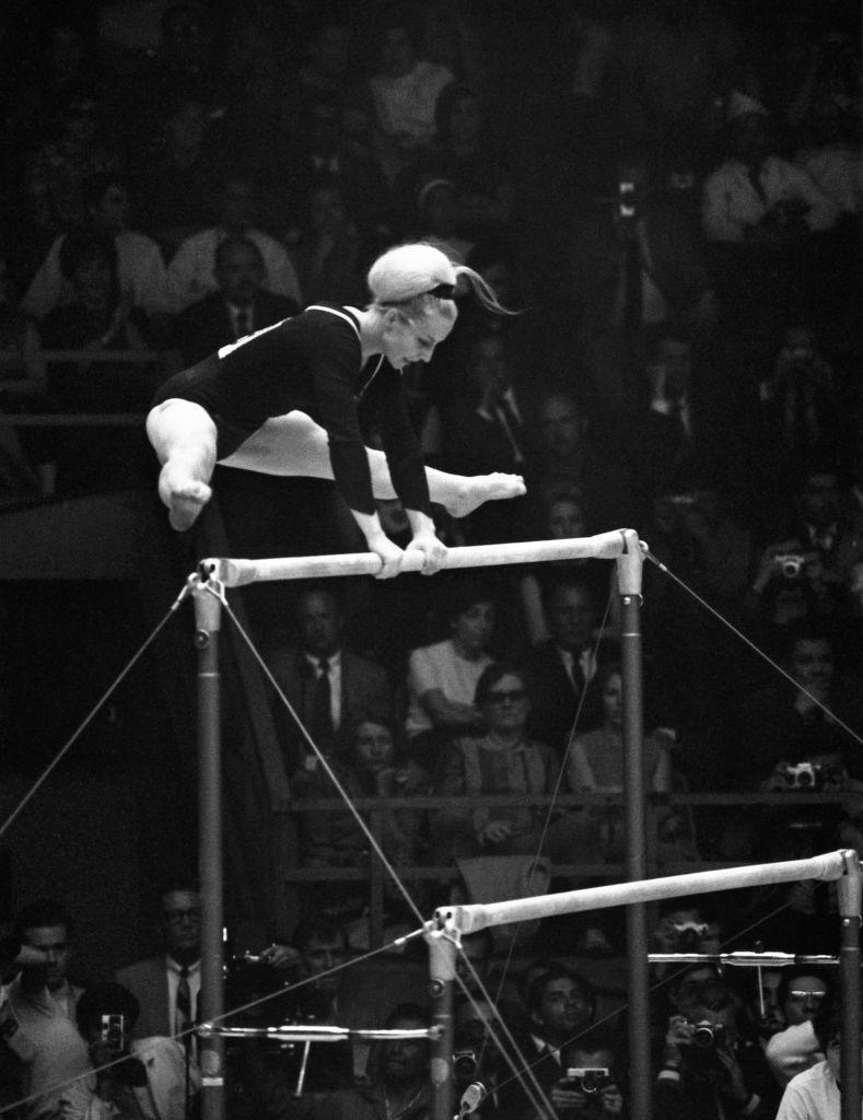 <p>Vera Caslavska of Czechoslovakia took home the all-around gold medal at both the 1964 and 1968 games. </p>