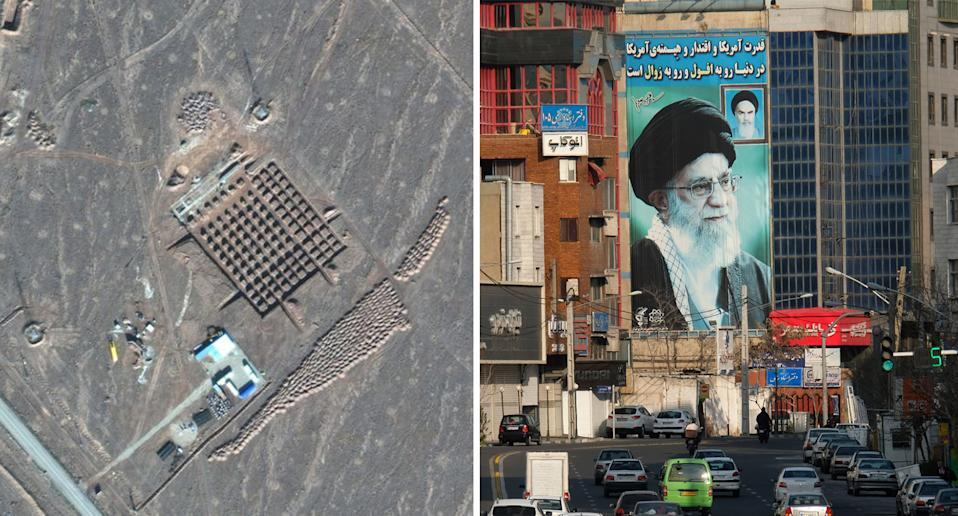 The construction site of Iran's underground nuclear facility at Fordo (left) and pictured right is Iran's Supreme Leader Ali Khamenei.