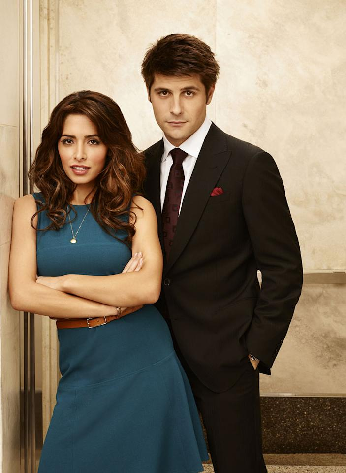 "Sarah Shahi as Kate Reed and Ryan Johnson as Ben Grogan in ""Fairly Legal."""