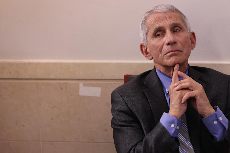Dr. Anthony Fauci, director of the National Institute of Allergy and Infectious Diseases, attends the daily coronavirus task force briefing in the Brady Press Briefing Room at the White House on April 08, 2020 in Washington, DC. Trump vowed to hold back funding for the World Health Organization at the briefing, accusing the organization of having not been aggressive enough in confronting the virus, but later denied saying funding would be withheld, according to published reports. (Photo by Chip Somodevilla/Getty Images)
