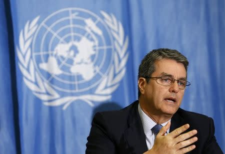 WTO Director-General Azevedo gestures during a news conference  in Geneva