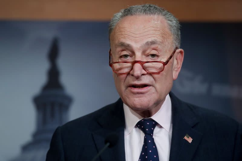 U.S. Senate Minority Leader Schumer holds a news conference after the final vote on the war powers resolution regarding potential military action against Iran, at the Capitol in Washington