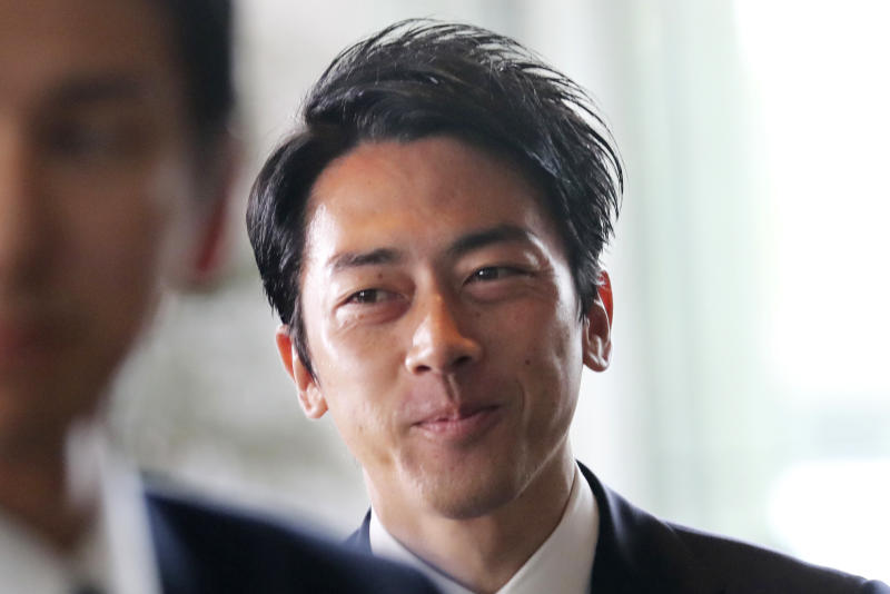 Newly appointed Environment Minister Shinjiro Koizumi arrives at the prime minister's official residence in Tokyo, Wednesday, Sept. 11, 2019. Japanese Prime Minister Shinzo Abe reshuffled his Cabinet on Wednesday. Getting attention is Koizumi, son of former Prime Minister Junichiro Koizumi. (AP Photo/Koji Sasahara)