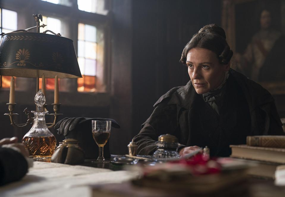"<em>Gentleman Jack</em> centers on a woman who tries to get ahead during the industrial revolution period by marrying another woman. Read our full review of the show <a href=""https://www.glamour.com/story/gentleman-jack-review?mbid=synd_yahoo_rss"" rel=""nofollow noopener"" target=""_blank"" data-ylk=""slk:here"" class=""link rapid-noclick-resp"">here</a>."