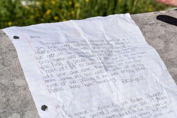PHOTO: In this undated photo provided by the Walton County Sheriff's Office, a note written by the mother and daughter accompanied the ashes of Brian Mullins found in a bottle that washed ashore last week near Miramar Beach, Fla. (Corey Dobridnia/Walton County Sheriff's Office via AP)