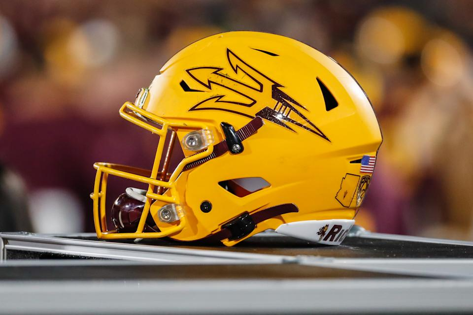 An Arizona State Sun Devils helmet during a college football game on Nov. 23, 2019. (Kevin Abele/Icon Sportswire via Getty Images)