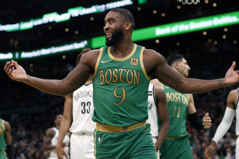 Boston Celtics' Brad Wanamaker (9) reacts to a call during the second half of an NBA basketball game against the Brooklyn Nets in Boston, Wednesday, Nov. 27, 2019. (AP Photo/Michael Dwyer)
