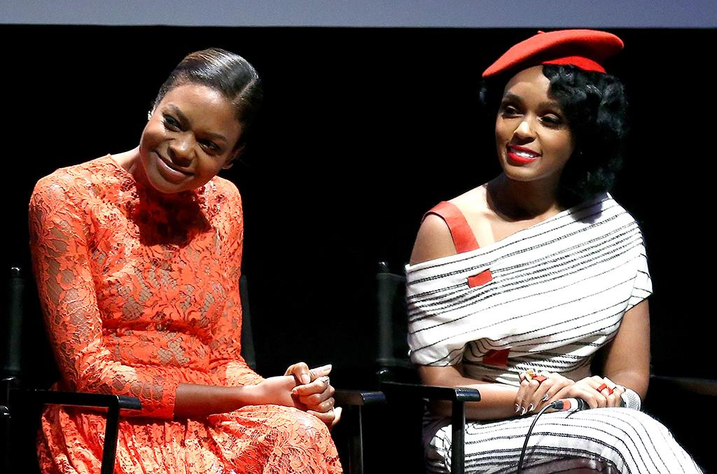 <p>Co-stars Harris and Janelle Monae appear onstage at the New York Film Festival screening and Q&A on Oct. 2, 2016. (Photo: Paul Zimmerman/Getty Images) </p>