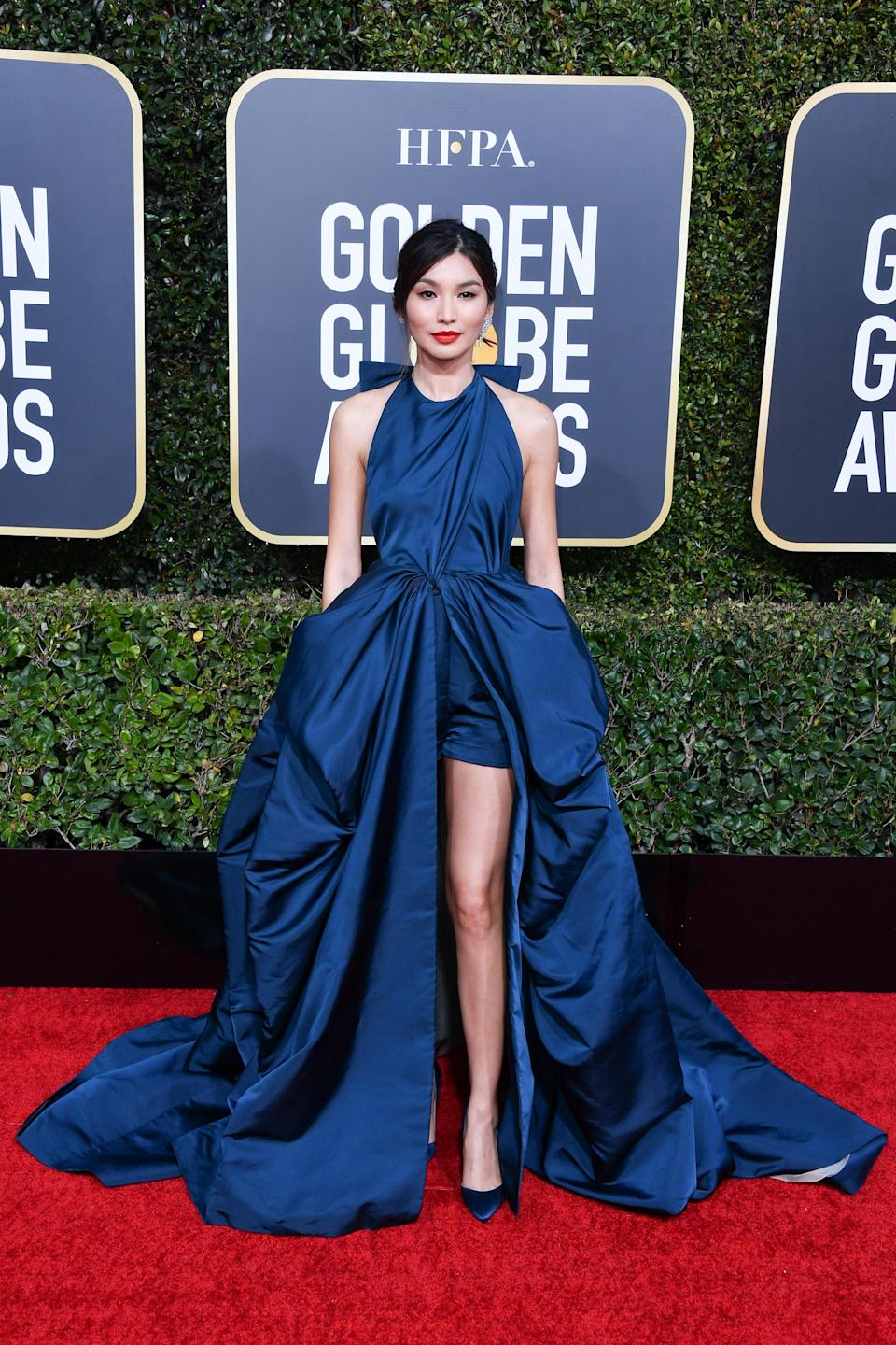 <p>Gemma Chan makes the best dressed list courtesy of her incredible Valentino dress (with shorts beneath). <em>[Photo: Getty]</em> </p>